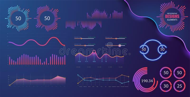 Gráficos e diagrama da tecnologia com opções e cartas dos trabalhos Elementos infographic da apresentação do vetor ilustração do vetor