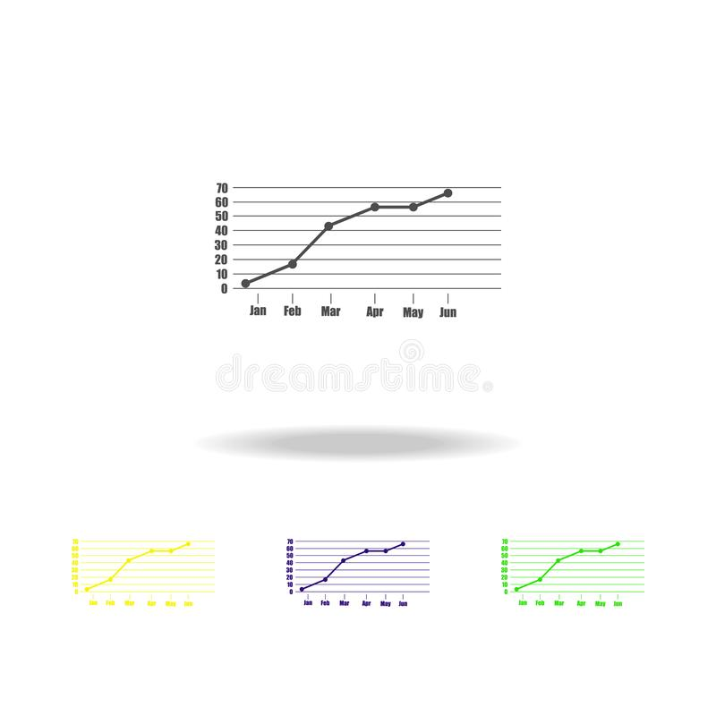 gráficos e iconos del color del diagrama Los elementos de los indicadores de un negocio colorean iconos Muestras, iconos del colo stock de ilustración