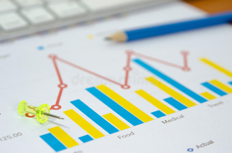 gráficos e lápis imagem de stock