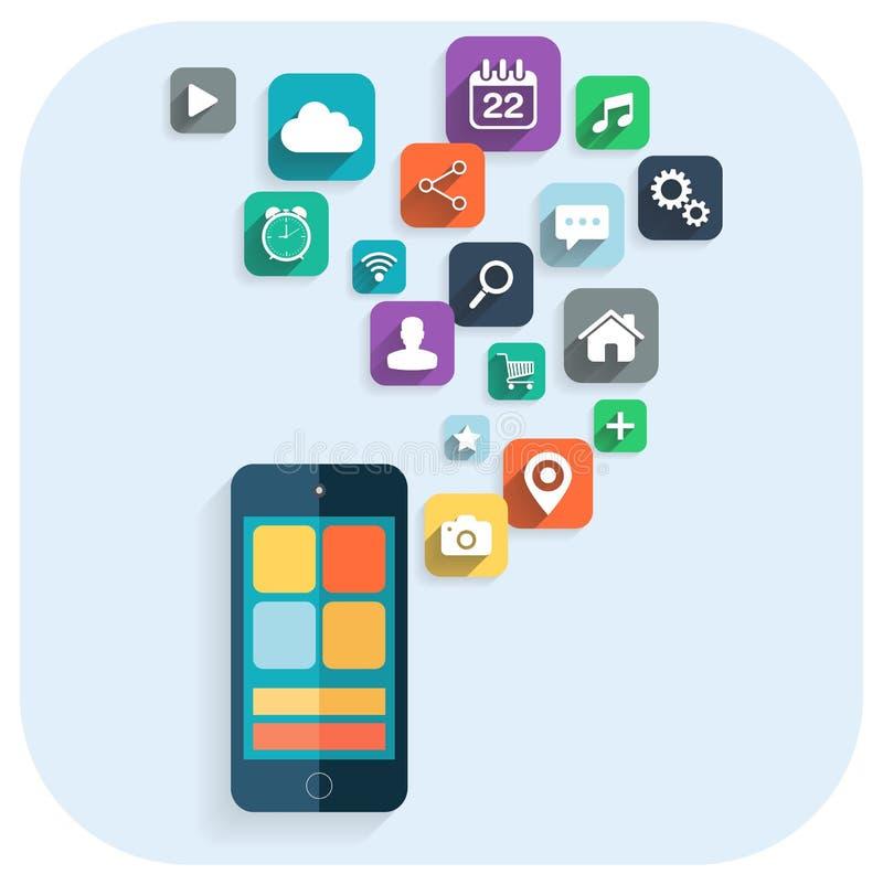 Gráficos elegantes de la información de los apps del teléfono Iconos para el Web site stock de ilustración