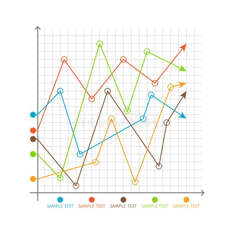 Gráficos em mudança da carta de Infographic, sistema de machados ilustração royalty free