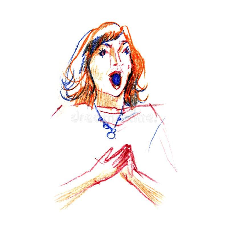 Gráficos - esboço no concerto, diva de Opera do vocalista da mulher Ilustração do pancil da cor no fundo branco ilustração stock