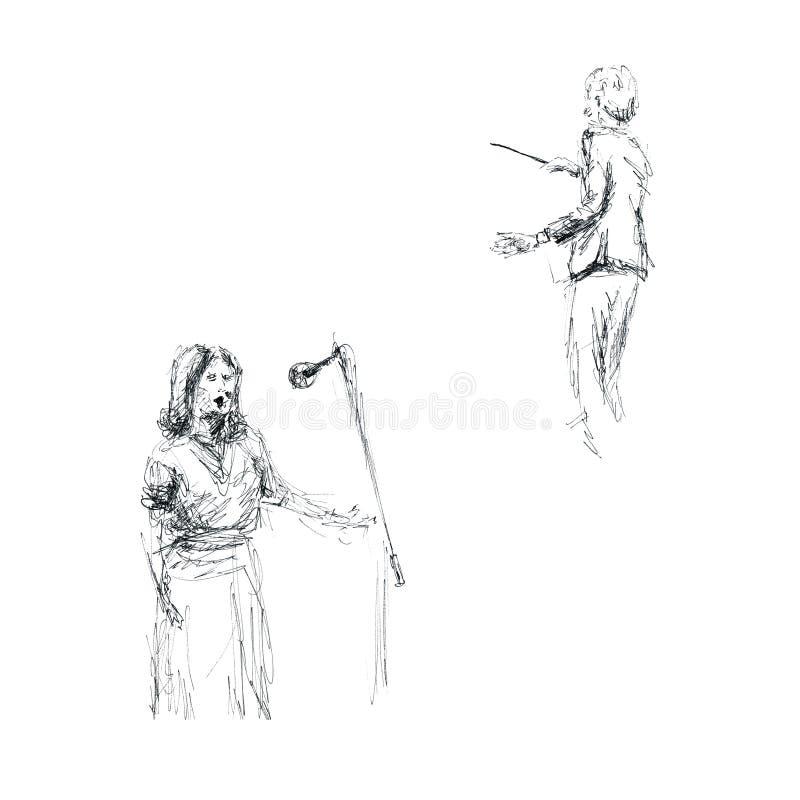 Gráficos - esboço no vocalista do concerto, do maestro e da mulher ilustração royalty free