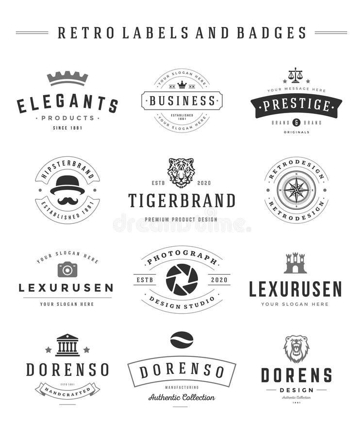 Gráficos fijados logotipos retros del vintage del vector ilustración del vector