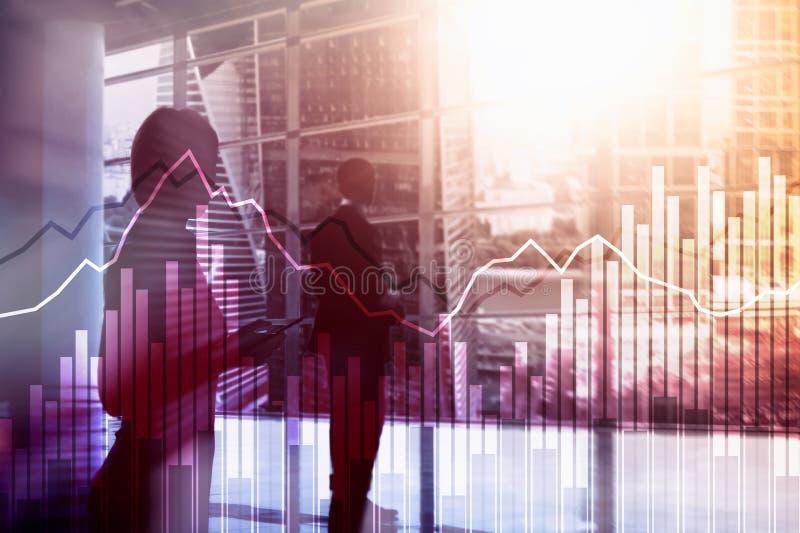 Gráficos financeiros e diagramas da exposição dobro Conceito do negócio, da economia e do investimento foto de stock