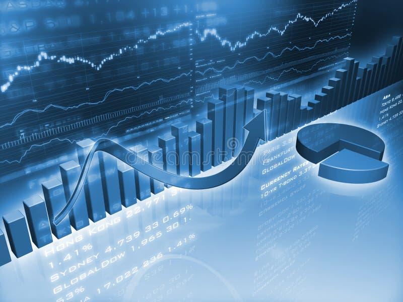 Gráficos financieros con el gráfico de sectores ilustración del vector