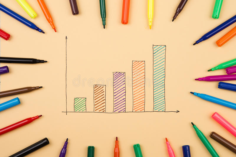 Gráficos financieros dibujados con las plumas coloreadas imagen de archivo