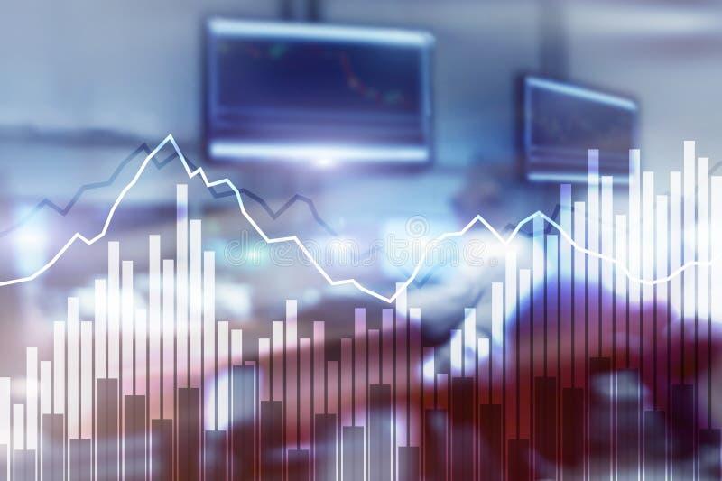Gráficos financieros y diagramas de la exposición doble Concepto del negocio, de la economía y de la inversión fotos de archivo