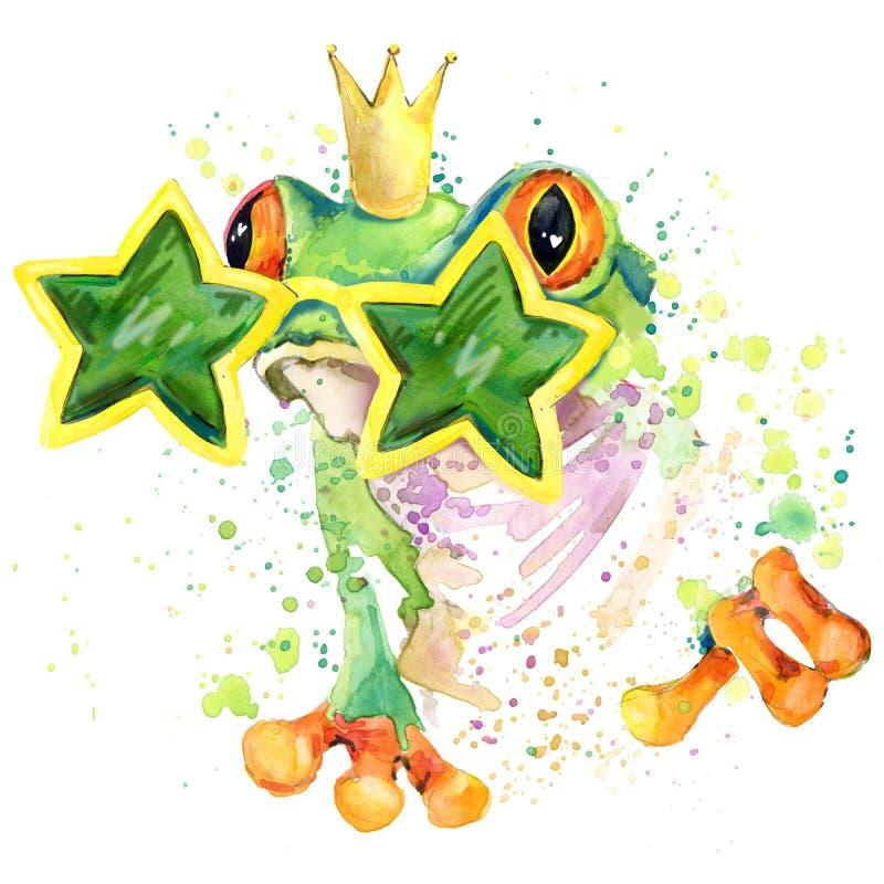 gráficos frescos de la camiseta de la rana el ejemplo de la rana verde con la acuarela del chapoteo texturizó el fondo acuarela i ilustración del vector