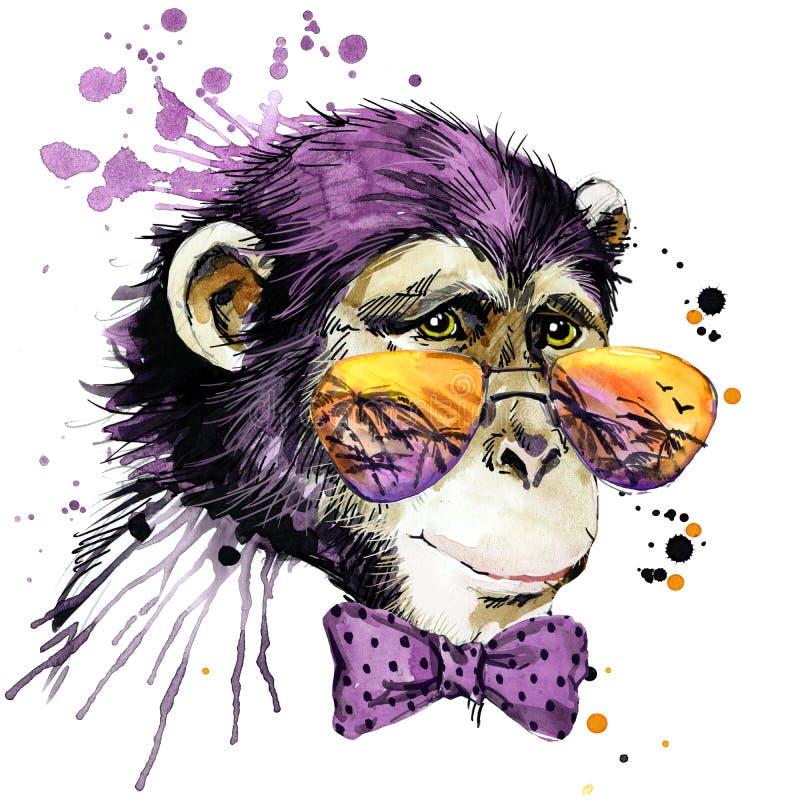 Gráficos frescos do t-shirt do macaco ilustração do macaco com fundo textured aquarela do respingo monge incomum da aquarela da i ilustração royalty free