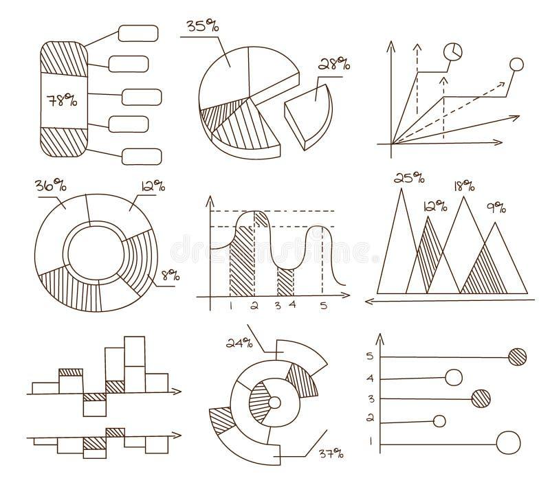 Gráficos, gráficos circulares y diagramas Mano drenada stock de ilustración