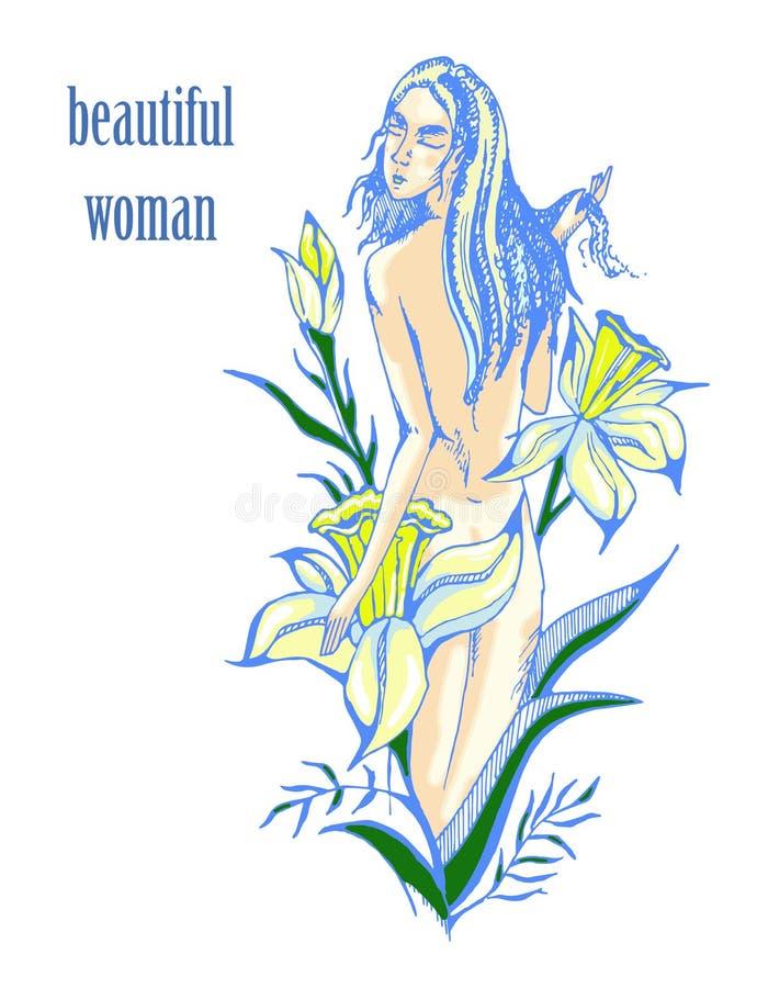 Gráficos hermosos de la mujer y de las flores stock de ilustración