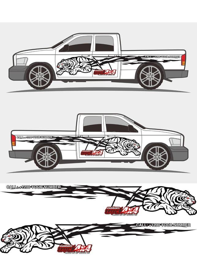 Gráficos irritados do decalque do tigre para o caminhão e os veículos ilustração royalty free