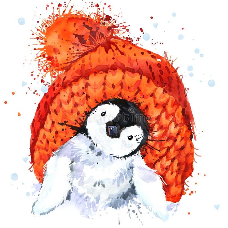 Gráficos lindos de la camiseta del pingüino Ejemplo del pingüino con el fondo texturizado acuarela del chapoteo ilustración del vector
