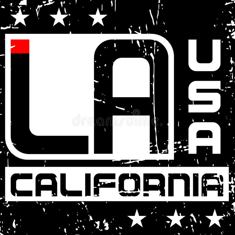 Gráficos Los Angeles Califórnia da tipografia da camisa de T ilustração royalty free