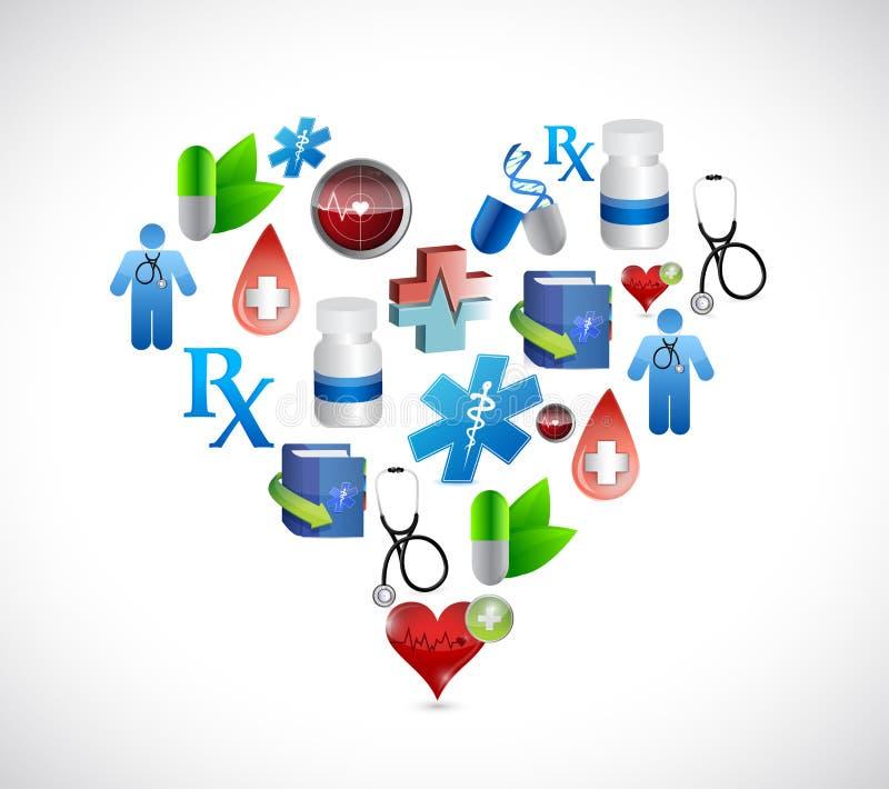 Gráficos médicos do projeto da ilustração dos ícones do coração ilustração royalty free