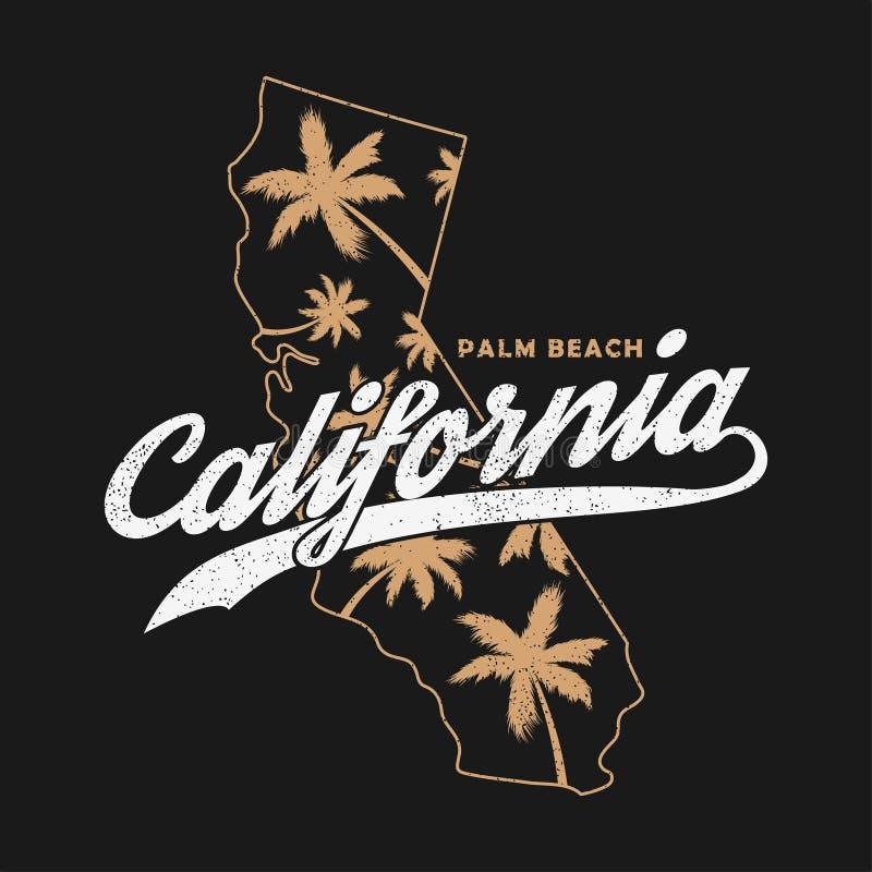 Gráficos para o t-shirt, roupa da tipografia de Califórnia Cópia do Grunge para o fato com palmeiras e mapa Vetor ilustração royalty free
