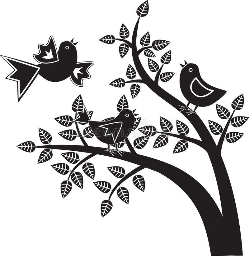 Gráficos preto e branco dos pássaros ilustração do vetor