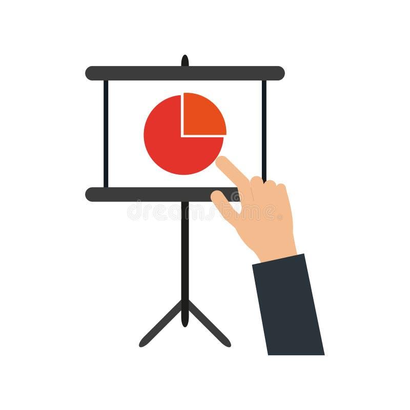 Gráficos punteagudos de la mano del hombre de negocios stock de ilustración