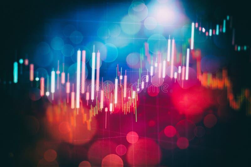 Gráficos que brillan intensamente de las divisas de diversos colores que muestran la situación del mercado financiero en fondo di stock de ilustración