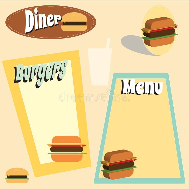 Gráficos retros do hamburguer do estilo ilustração royalty free