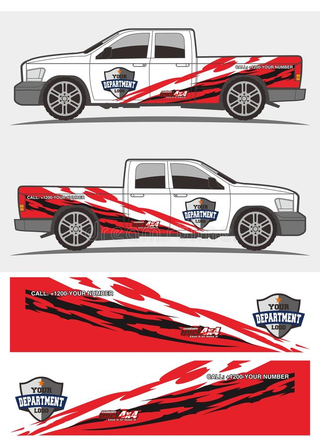 Gráficos rojos y negros tribales de la etiqueta para el camión y los vehículos stock de ilustración