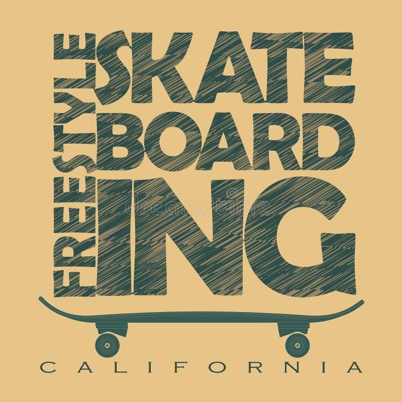 Gráficos Skateboarding do t-shirt ilustração royalty free
