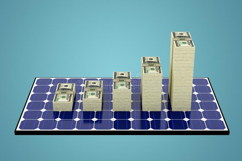 Gráficos Solar Panel - Bar hechos de billetes en dólares que muestran un aumento de los beneficios stock de ilustración