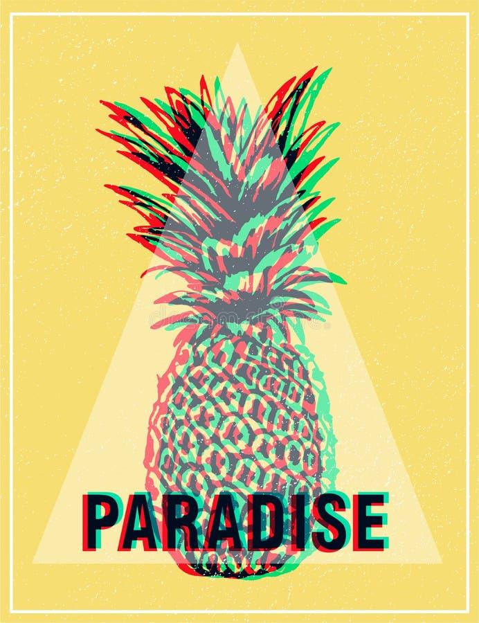 Gráficos tropicales impresión, piña de la camiseta del verano stock de ilustración