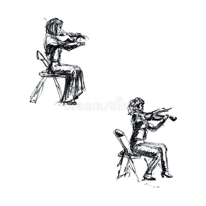 Gráficos - um esboço em um concerto, um violinista, uma mulher com um violino ilustração do vetor