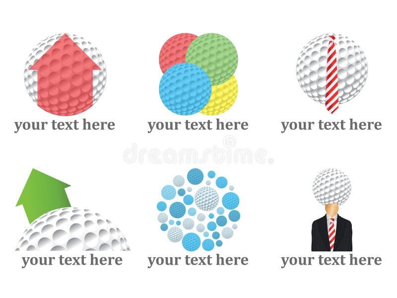 Gráficos vectoriales de las insignias de las pelotas de golf fotografía de archivo