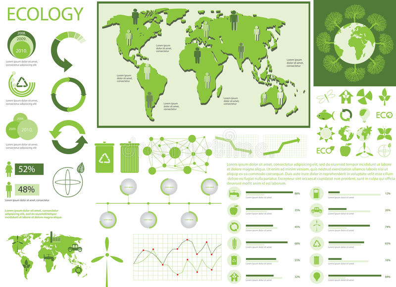 Gráficos verdes de la ecología Info ilustración del vector