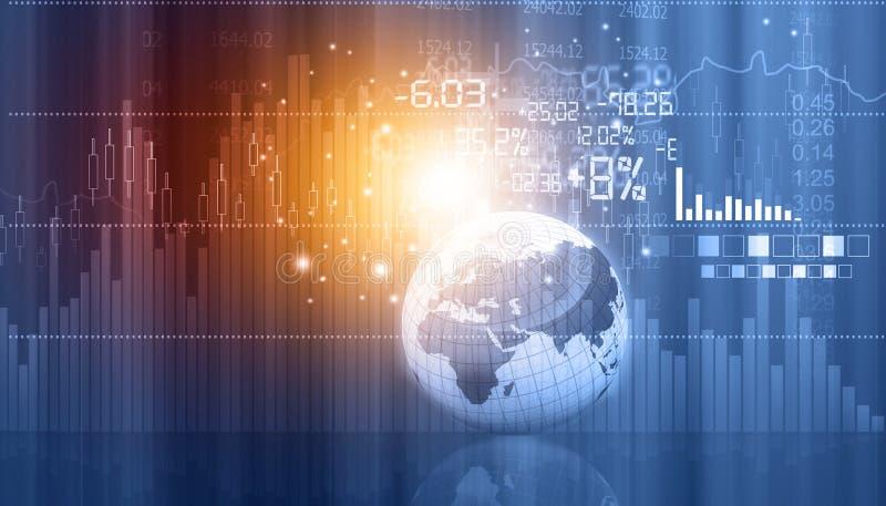 Gráficos y cartas del mercado de acción con el globo fotos de archivo libres de regalías