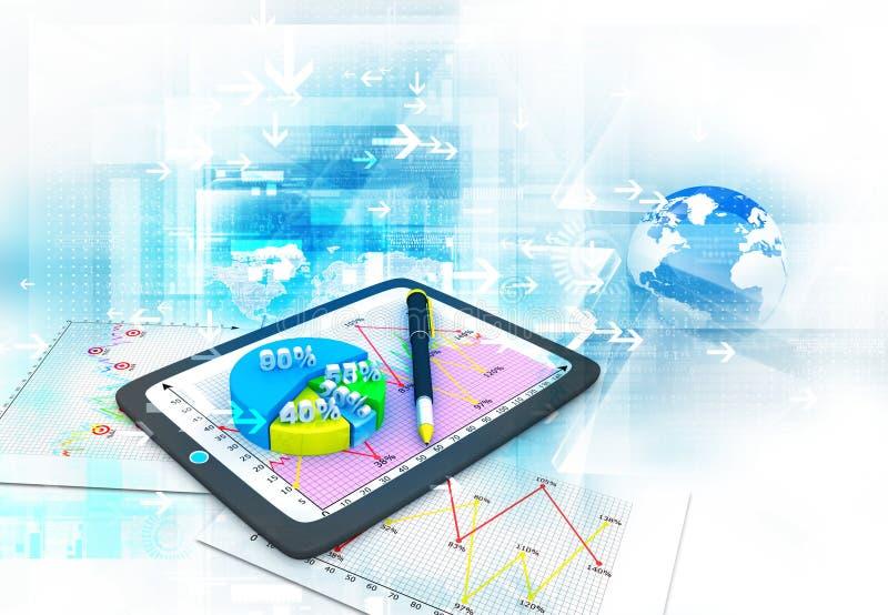 Gráficos y diagramas de negocio que muestran crecimiento ilustración del vector