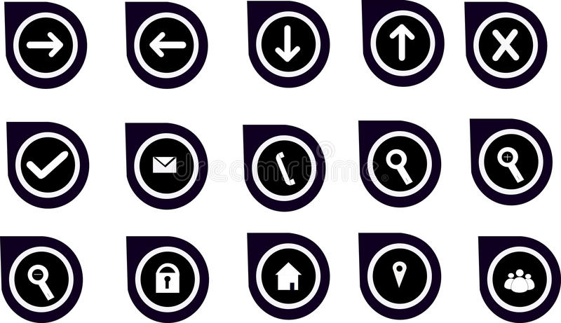 Gráficos y iconos de la navegación para los sitios web imagenes de archivo
