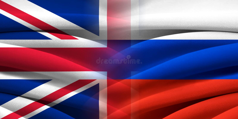 Grâ Bretanha CONTRA Rússia ilustração do vetor