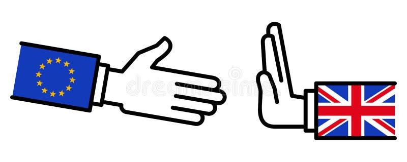 Grâ Bretanha que recusa agitar as mãos com UE, Brexit, disputa, negociações, relações de negócio, conceito, linha ícones ilustração do vetor
