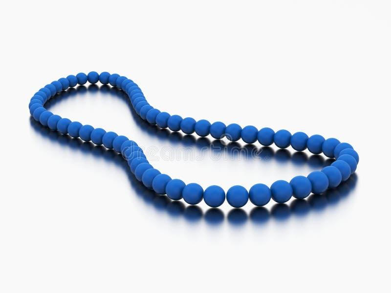 grânulos azuis da colar da pérola da ilustração 3D ilustração royalty free