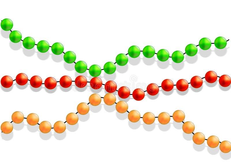 Grânulos coloridos em um fundo branco ilustração do vetor
