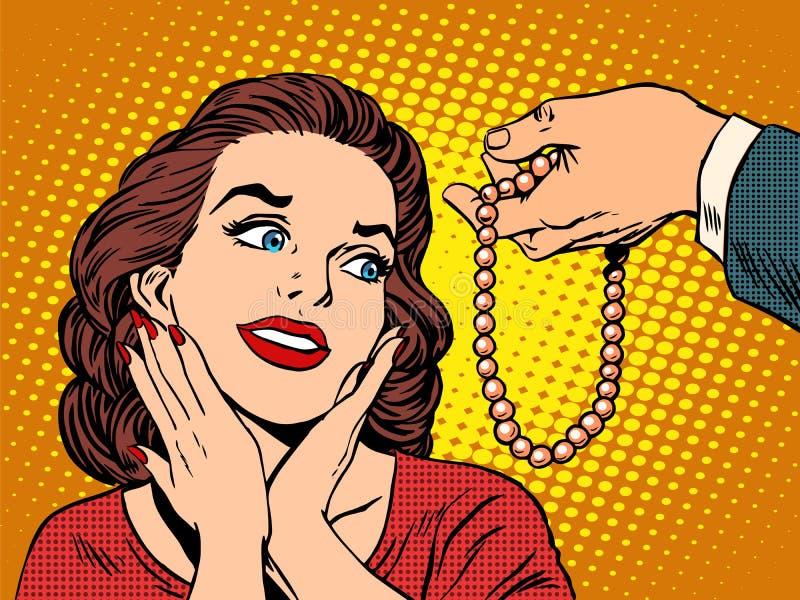 Grânulos da joia da mulher do presente ilustração stock