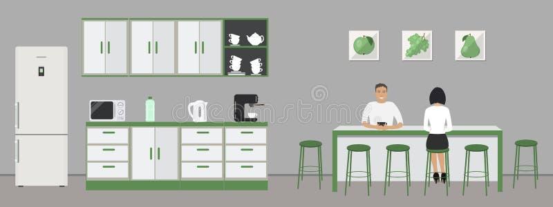 Grüne Büroküche Esszimmer im Büro Angestellte sitzen am Tisch stock abbildung