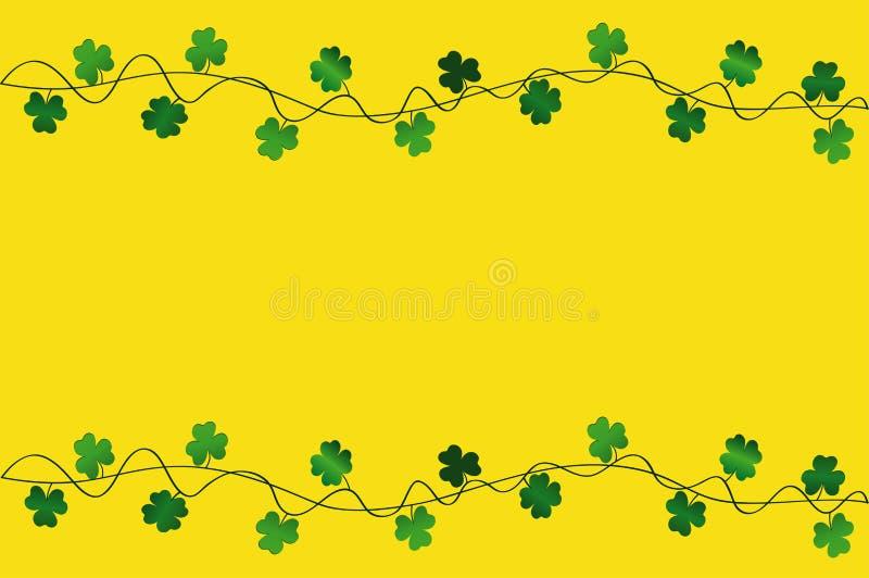 Grüne festliche Flagge mit Klee Irischer Feiertag - glücklicher St- Patrick` s Tag mit einer Girlande des Dreiblattes Grußkarte,  stock abbildung