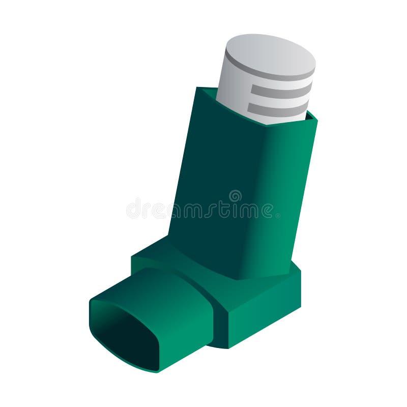 Grüne Inhalatorikone, isometrische Art vektor abbildung