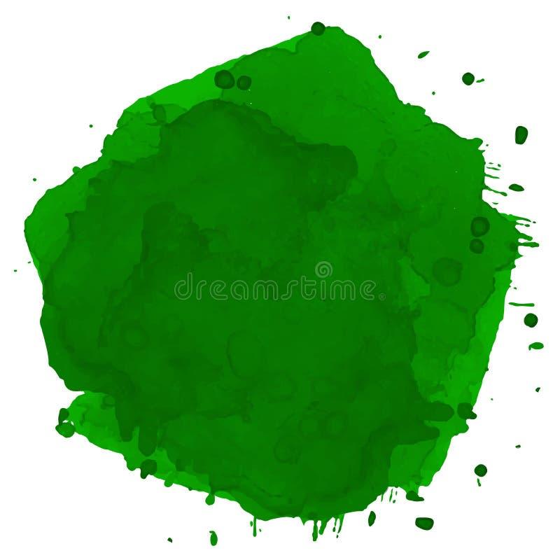 Grüner Aquarellfleckvektor Grüne Stelle des Aquarells vektor abbildung