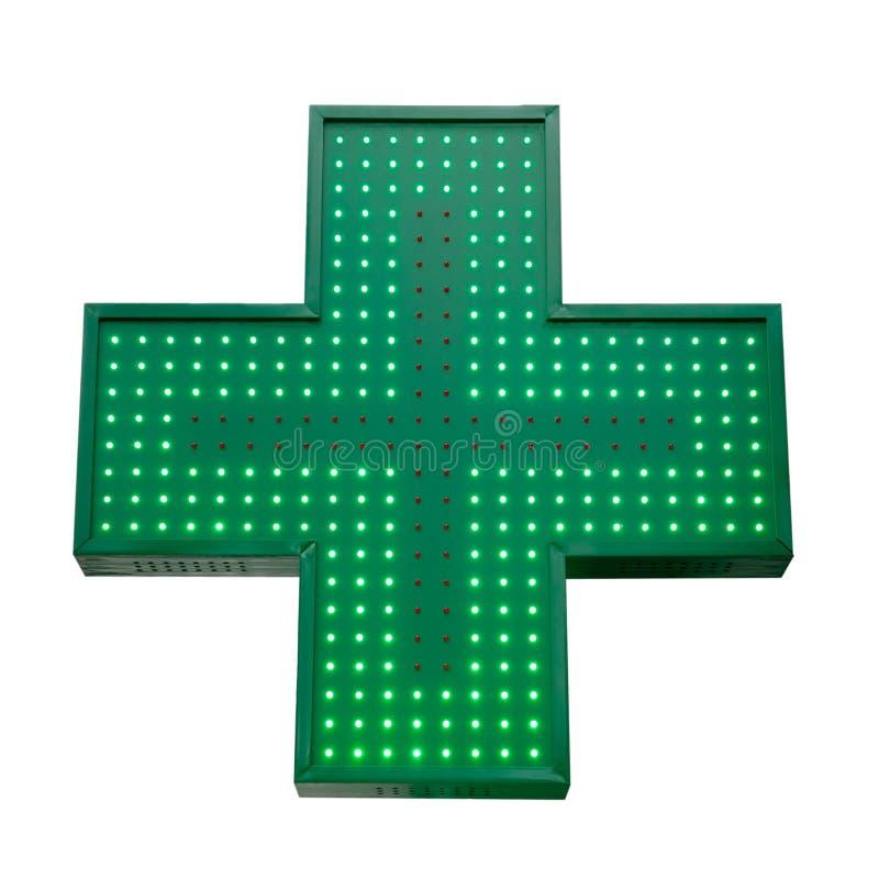 Grünes Medizinkreuz lokalisiert auf weißem Hintergrund Für Auslegung stock abbildung