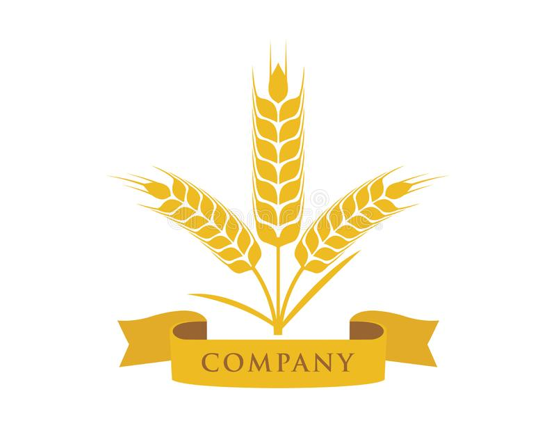 grão da provocação do trigo com projeto do logotipo do vetor da bandeira da fita ilustração stock