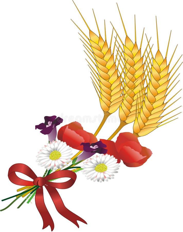 Grão e flores ilustração royalty free