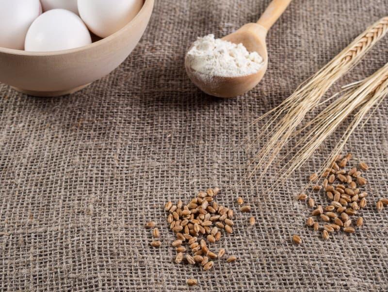 Grão e orelhas do trigo, de uma colher com farinha e de ovos no despedida imagens de stock