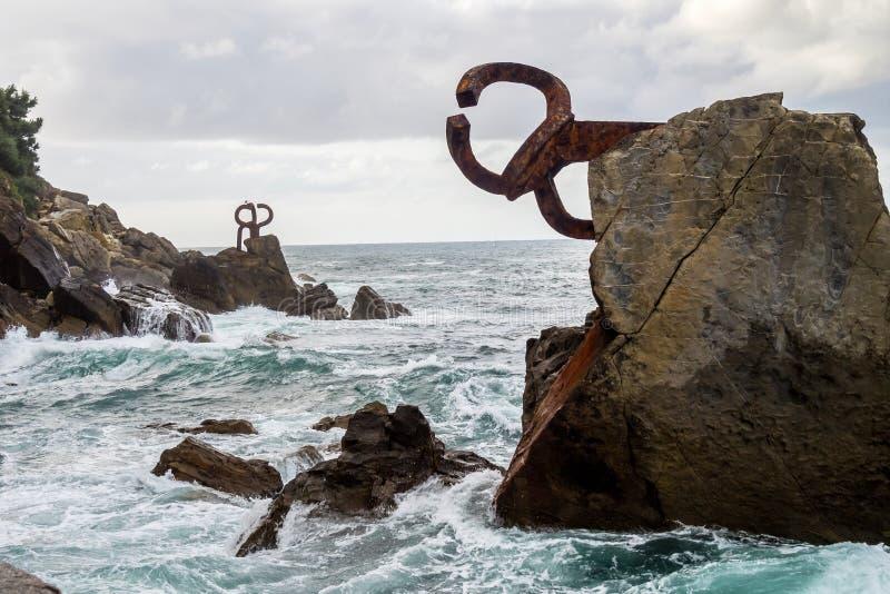 Grępla wiatry - Peine De Los Vientos w San Sebastian Donostia Hiszpania obraz stock