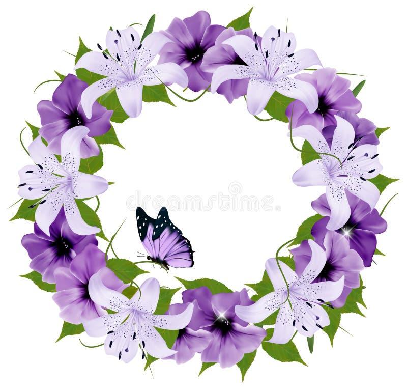 Gräns av färgrika blommor och fjärilen stock illustrationer